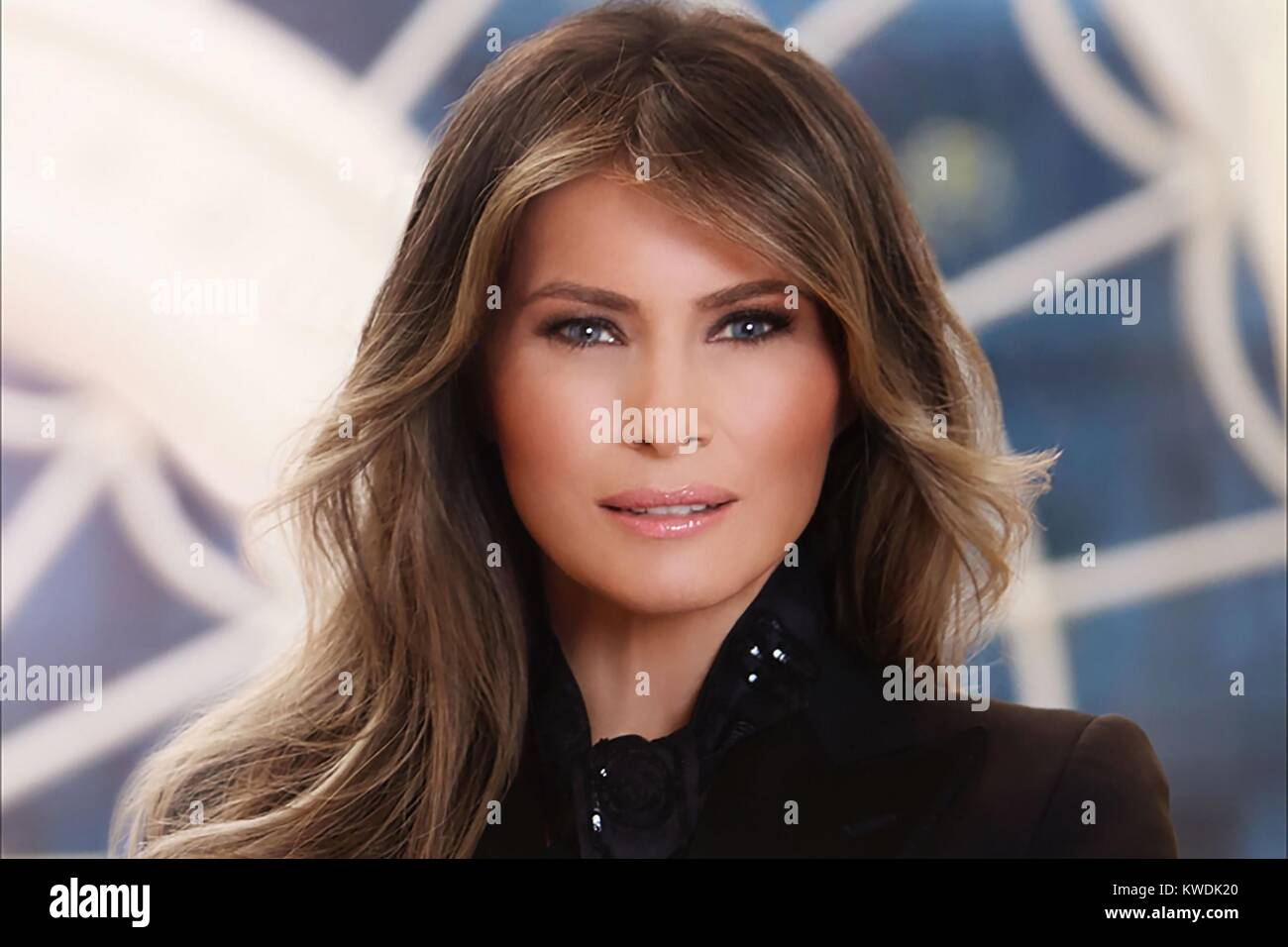Official photo of First Lady Melania Trump, by Belgian photographer, Regine Mahaux. There is obvious digital manipulation Stock Photo