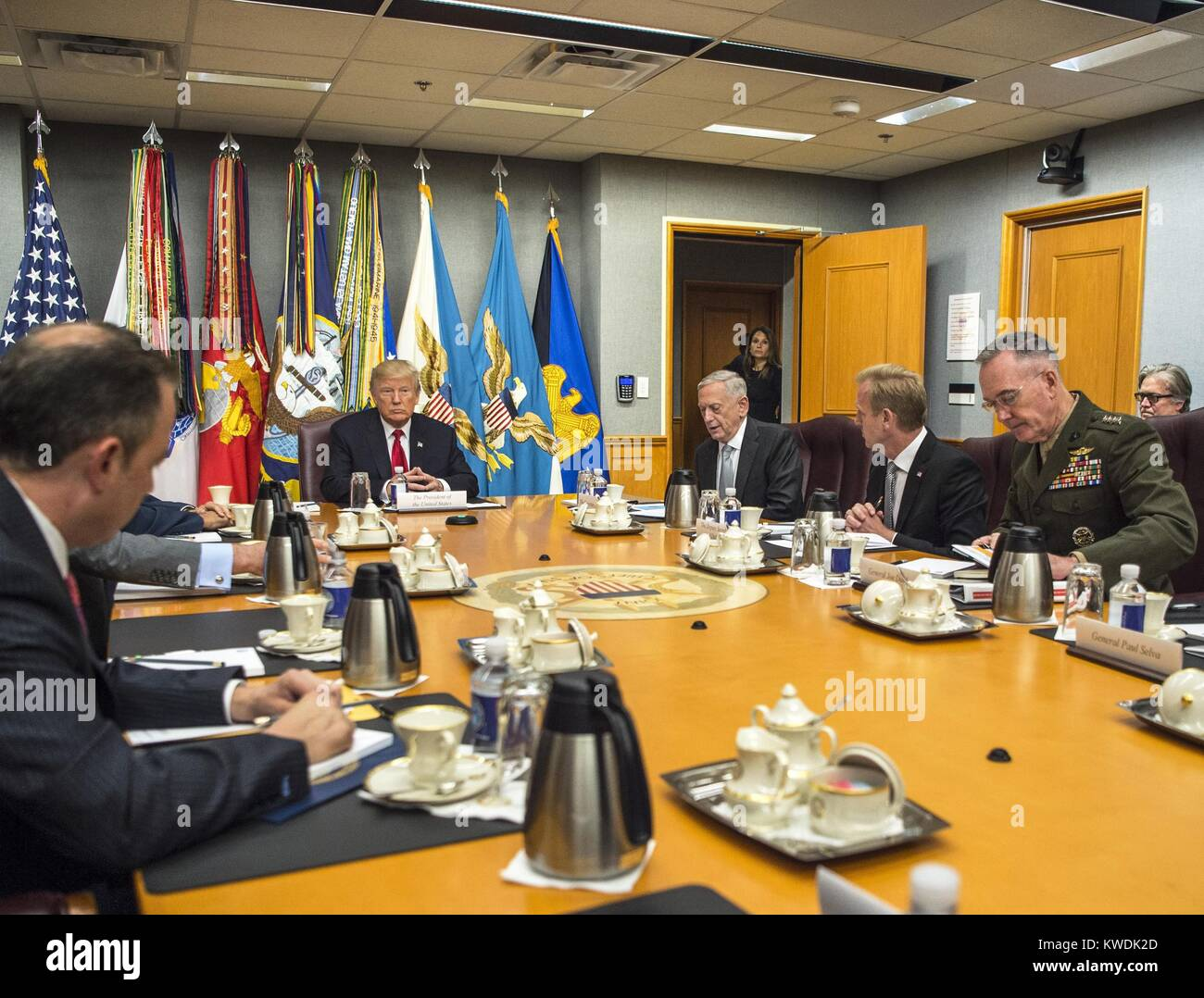 President Donald Trump meets with the National Security Council at the Pentagon, July 20, 2017 (BSLOC_2017_18_166) - Stock Image