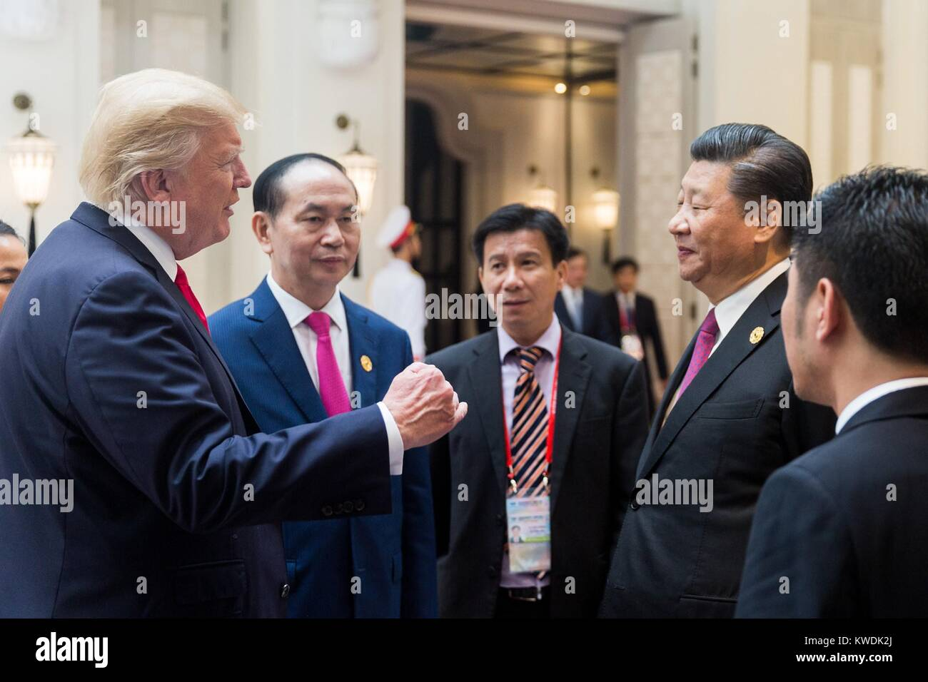 Chinese President Xi Jinping and US President Donald Trump at the APEC meeting in Danang, Vietnam. Sept. 11, 2017 - Stock Image