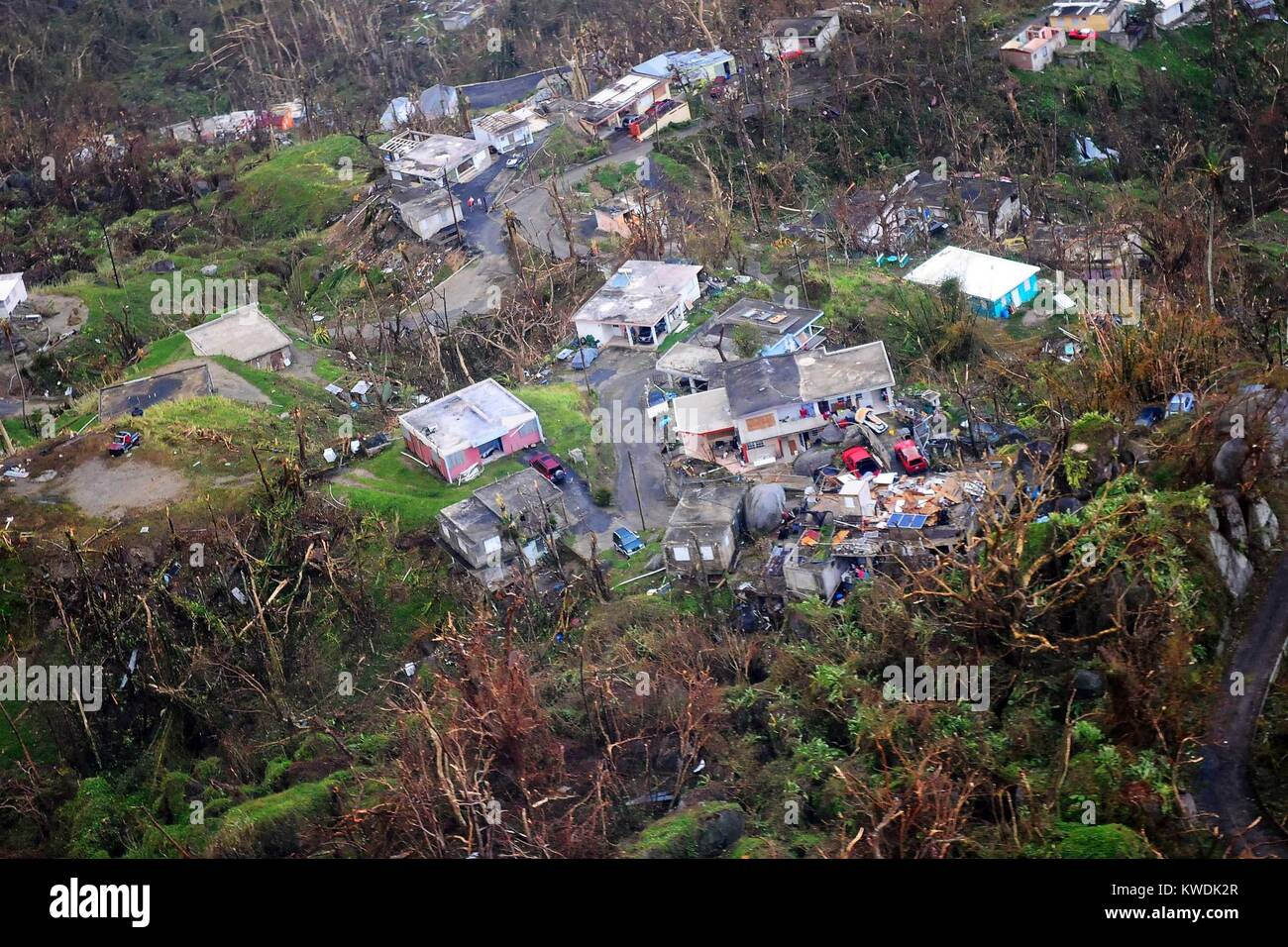 Destruction of houses in Puerto Rico seen from National Guard reconnaissance flight, Sept. 23, 2017. Three days Stock Photo