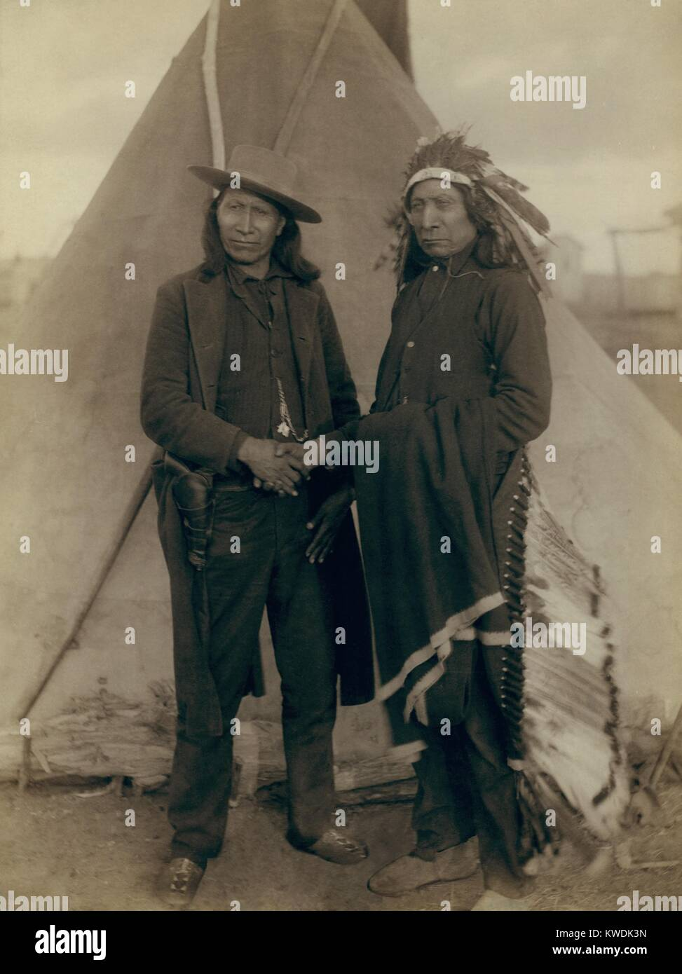 Red Cloud and American Horse, Oglala Lakota Chiefs, shortly after the Wounded Knee Massacre. American Horse, in - Stock Image