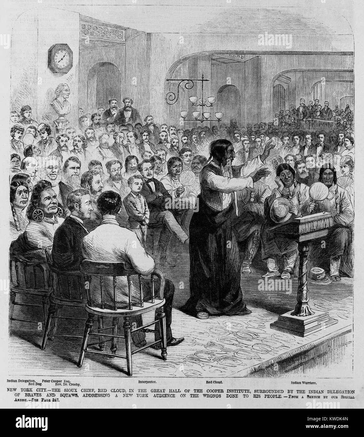 Chief Red Cloud, Oglala division of Lakota, Sioux, speaking at Cooper Union, NYC, in 1870. Surrounded by the Indian Stock Photo