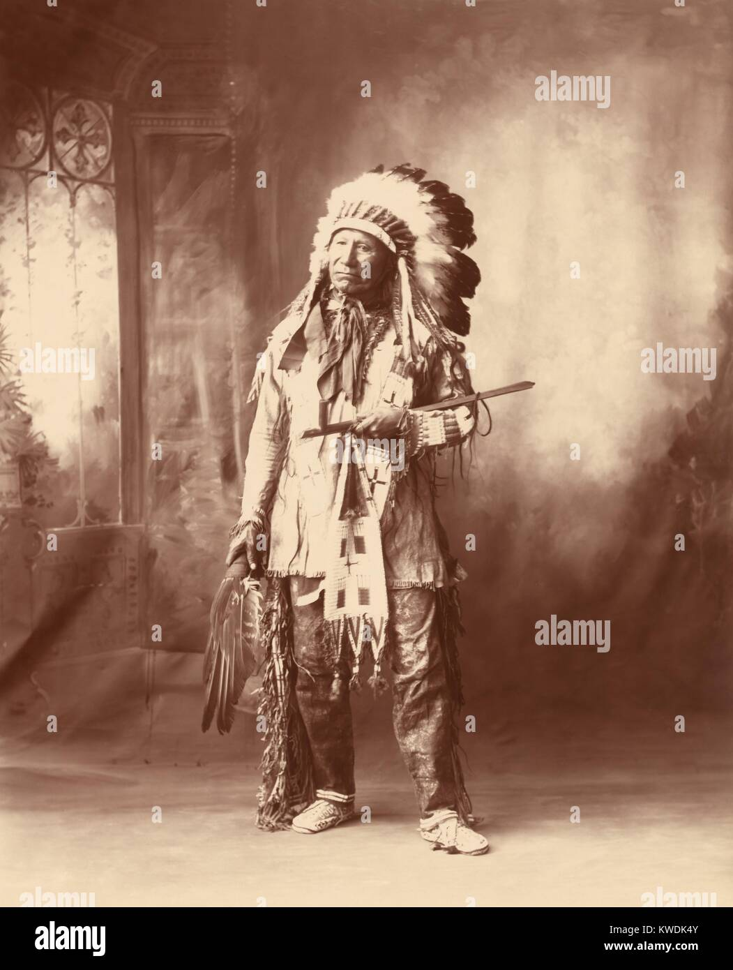 Chief American Horse, Oglala division of Lakota, a progressive Native American. He was a Scout for the US Army, - Stock Image