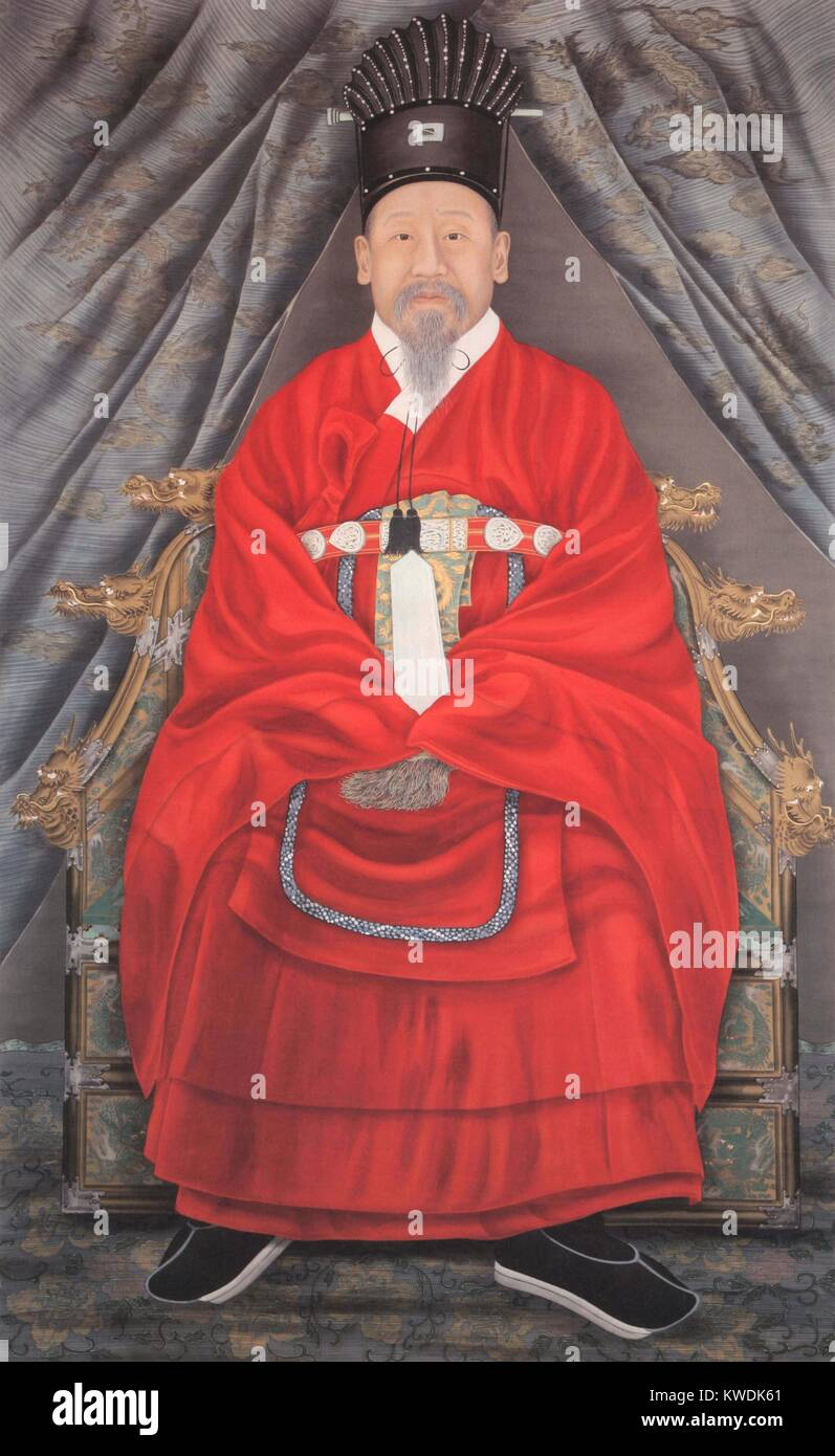 Emperor Gojong of Korea, c. 1880-90. His troubled reign from 1863 to 1897, saw Japanese influence increase as that - Stock Image