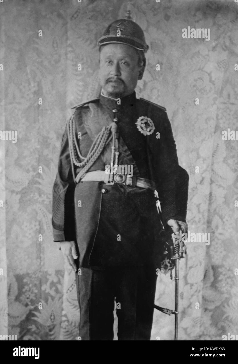 Emperor Gojong of Korea, in uniform in 1904. The Japanese forced his abdication in July 1907, replacing him with - Stock Image