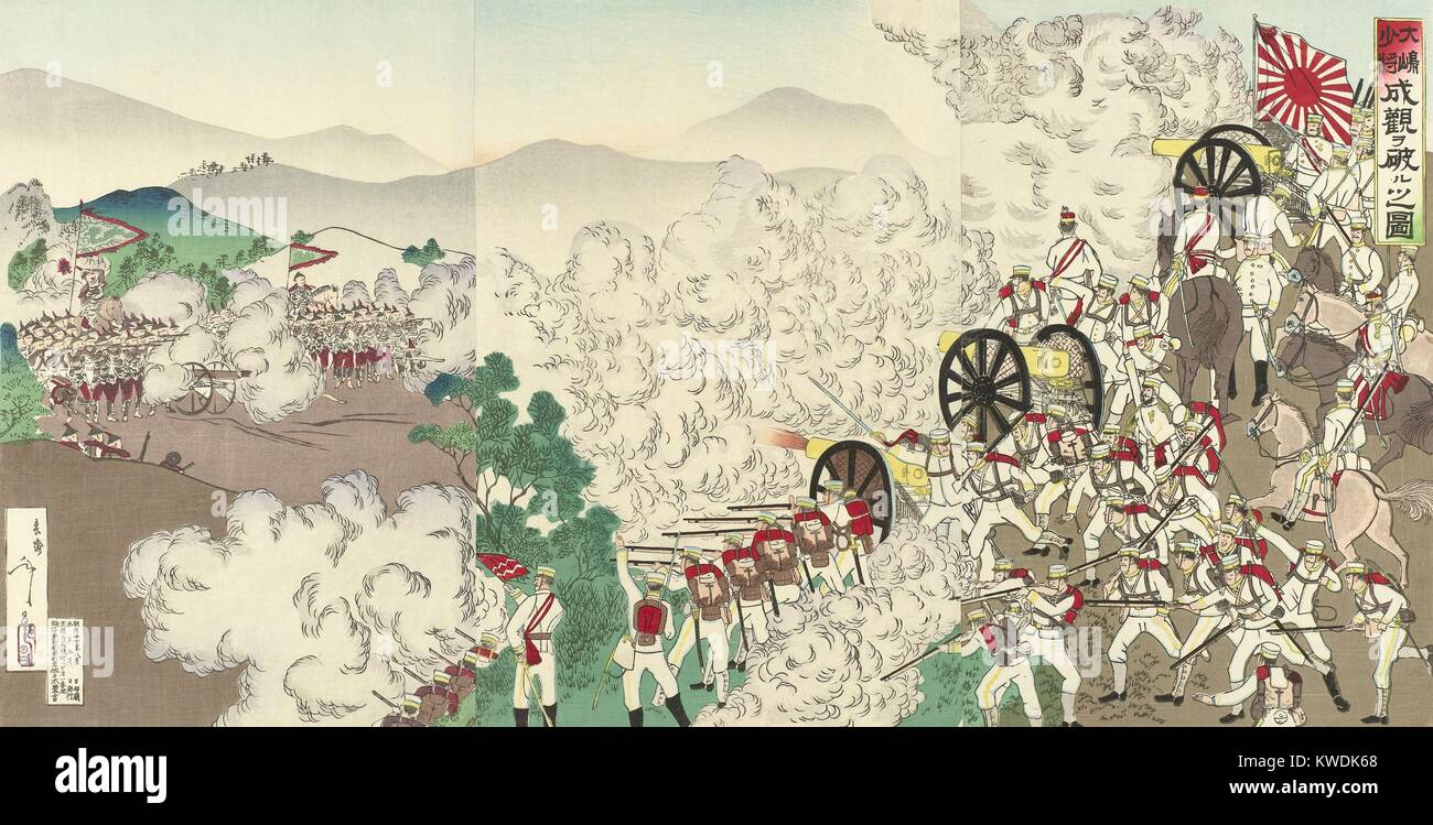 Battle of Songhwan, July 28, 1894, during the First Sino-Japanese War. This was the first major land battle in Korea - Stock Image