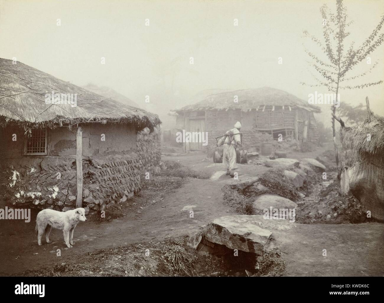 Dutch missionary, Jan Adriani, took this photo in Pyongyang, Korean in 1907 (BSLOC_2017_18_76) - Stock Image