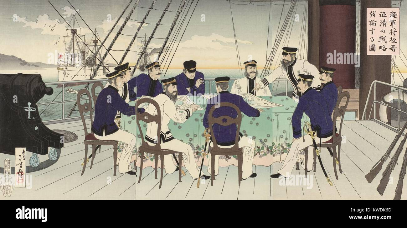 Japanese naval officers plan for the naval Battle of the Yellow Sea, of September 1894, during the First Sino-Japanese - Stock Image