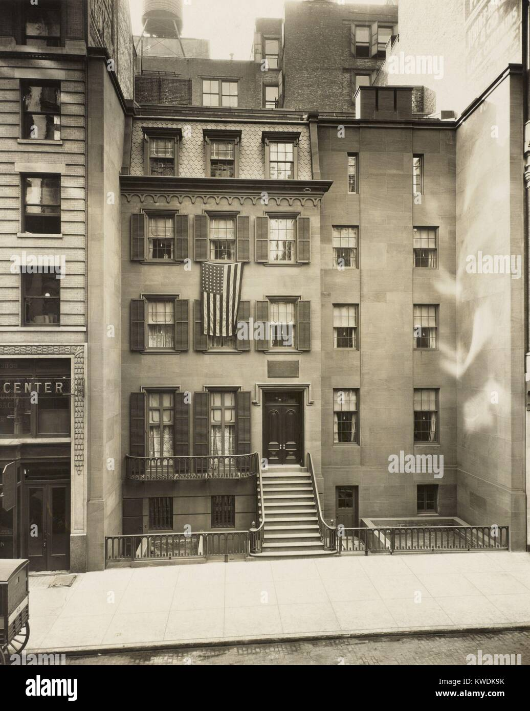 President Theodore Roosevelts was born and raised in a townhouse at 28 E. 20th St., New York City. Photo of the - Stock Image