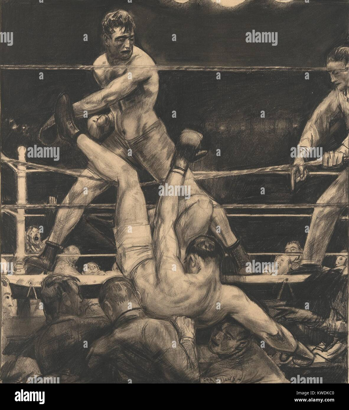 DEMPSEY THROUGH THE ROPES, by George Bellows, 1923, American drawing, lithographic crayon on paper. Luis Firpo knocked - Stock Image