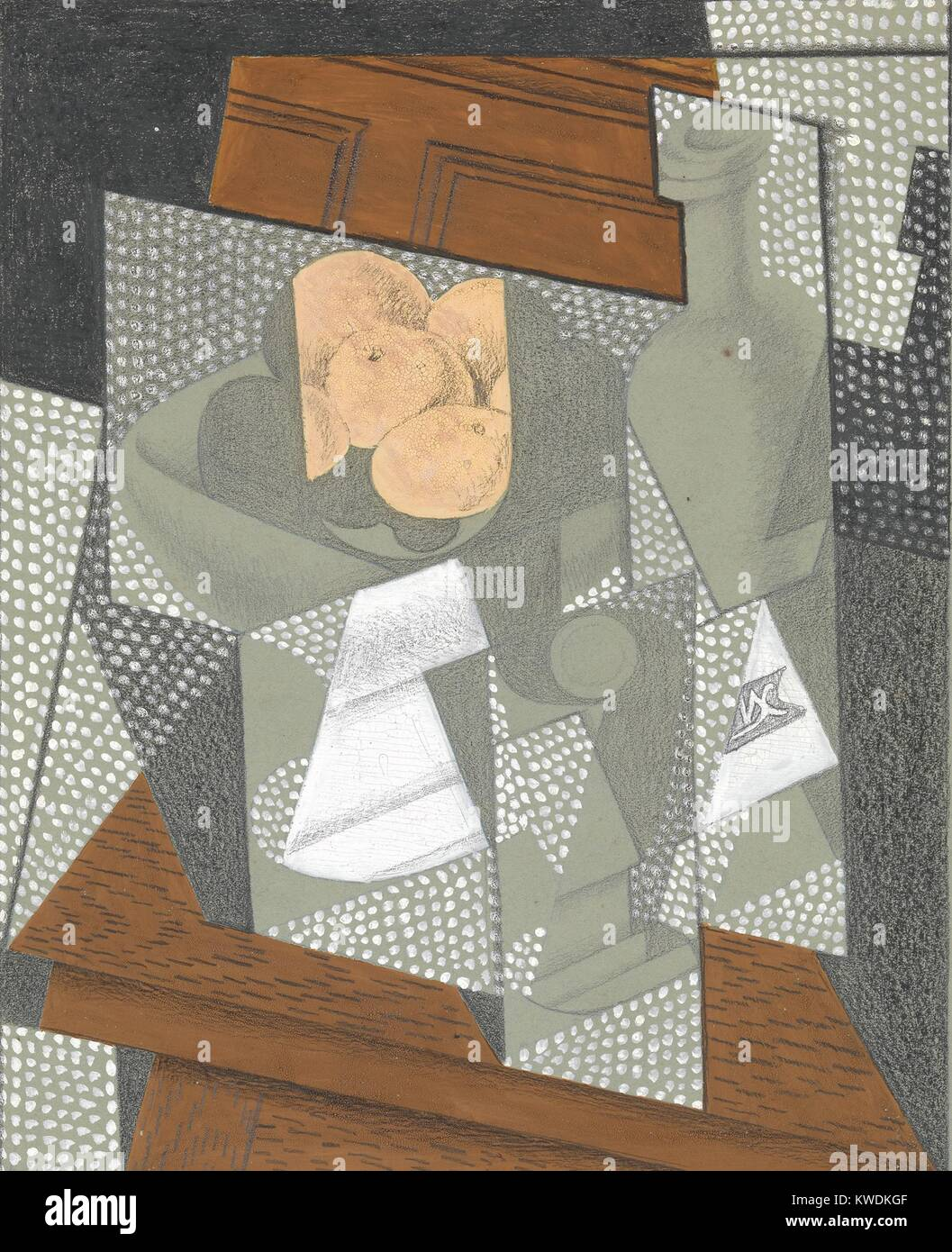 THE FRUIT BOWL, by Juan Gris, 1915-16, Spanish Cubist graphite, wax crayon, gouache drawing. This drawing is one - Stock Image