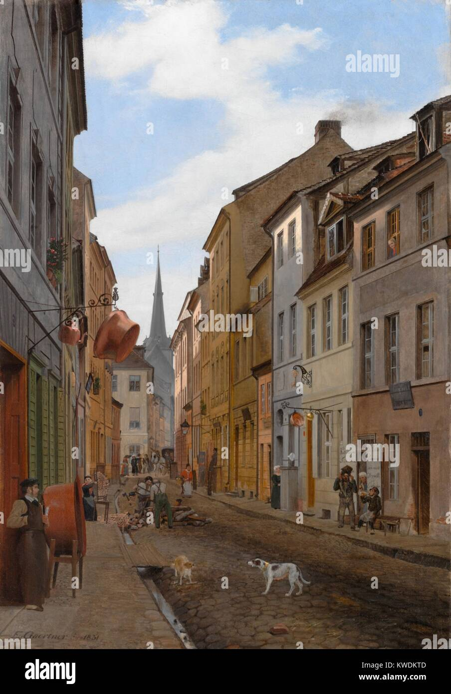 PAROCHIALSTRASSE IN BERLIN, by Eduard Gaertner, 1831, German painting, oil on canvas. Gaertner specialized in architectural - Stock Image