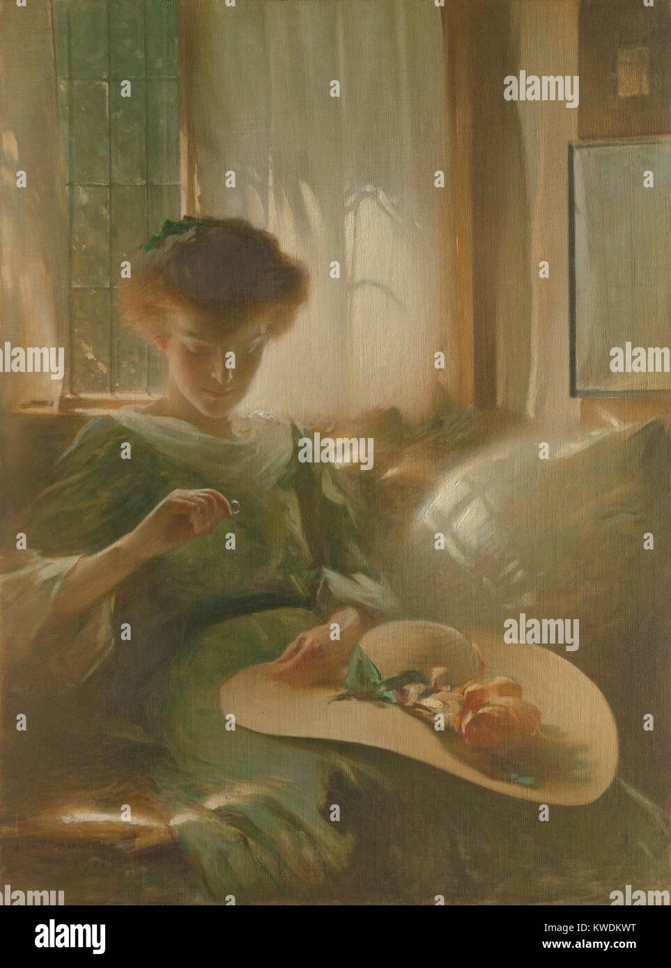 THE RING, by John White Alexander, 1911, American painting, oil on canvas. A softly backlit young woman holds and - Stock Image