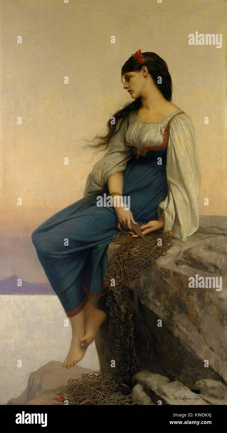 GRAZIELLA, by Jules-Joseph Lefebvre, 1878, French painting, oil on canvas. GRAZIELLA is the title character in Alphonse - Stock Image