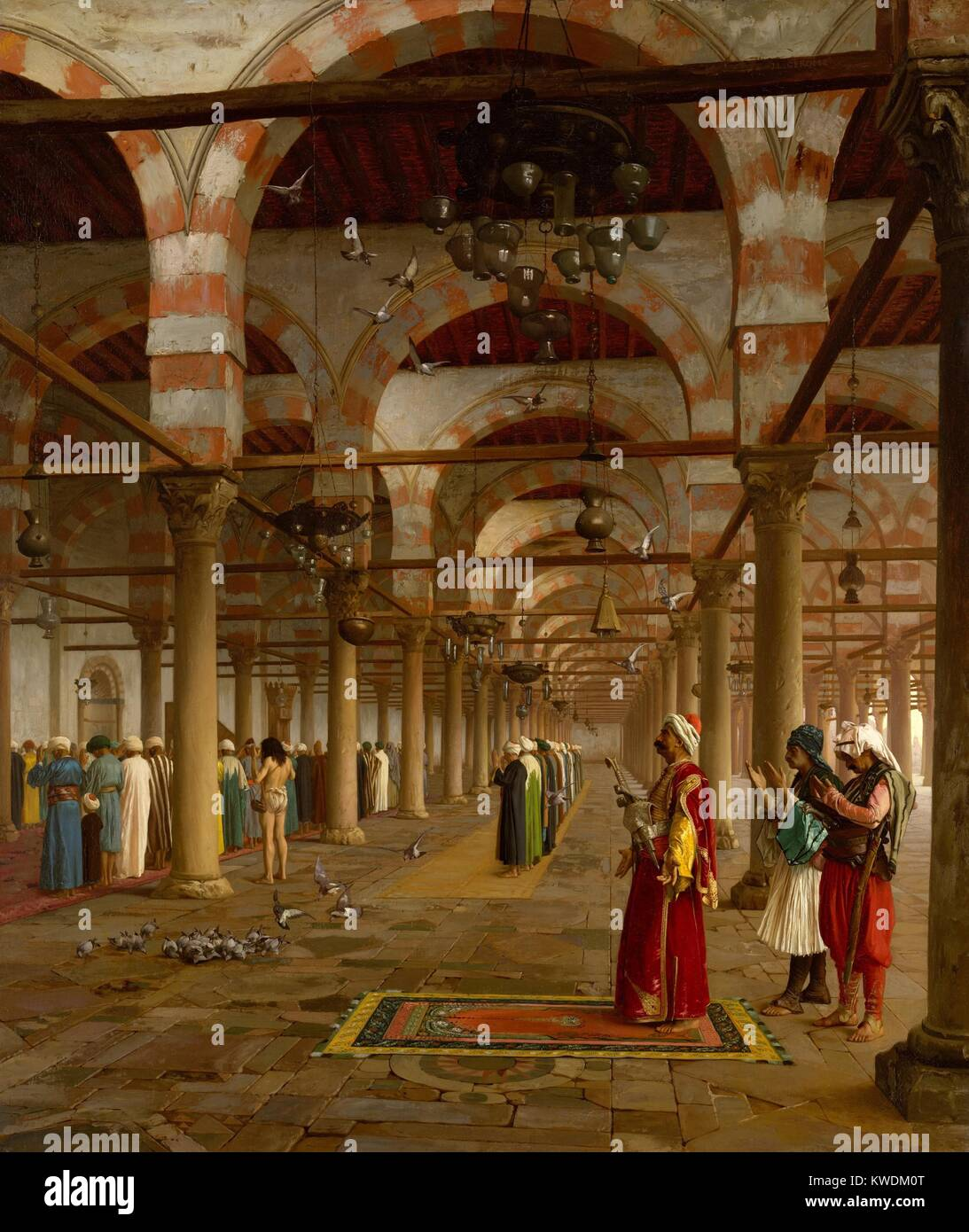 PRAYER IN THE MOSQUE, by Jean-Leon Gerome, 1871, French painting, oil on canvas. Islamic men praying in Mosque of Stock Photo