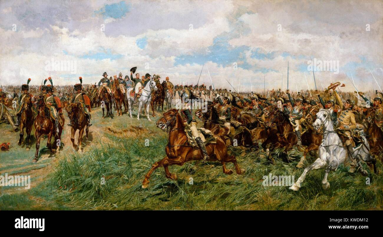 1807, FRIEDLAND, by Ernest Meissonier, 1861-75, French painting, oil on canvas. The Charge of the French Cuirassiers - Stock Image