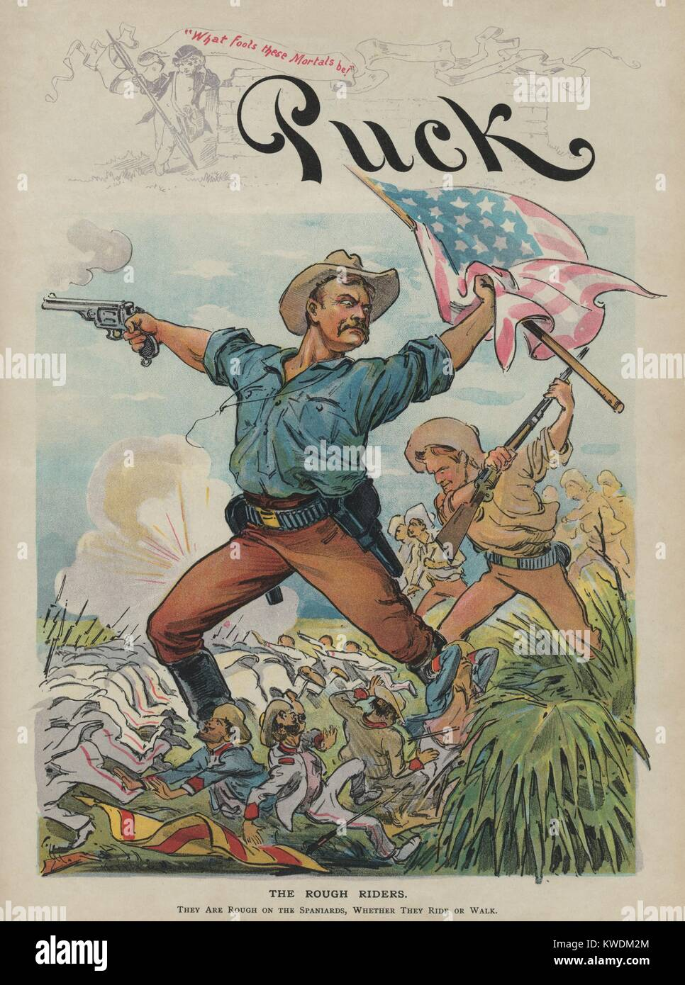 THE ROUGH RIDERS, Puck Magazine illustration, July 27, 1898. The non-factual made-up image in this political cartoon - Stock Image