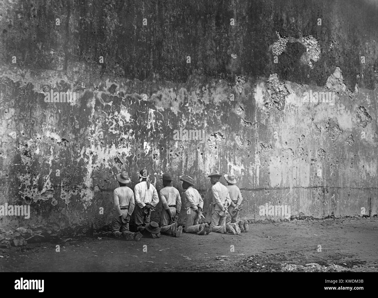 Execution scene at the arsenal in Santiago, Cuba. Photo taken by E.C. Rost of US Army, ca. 1899 (BSLOC_2017_10_5) - Stock Image