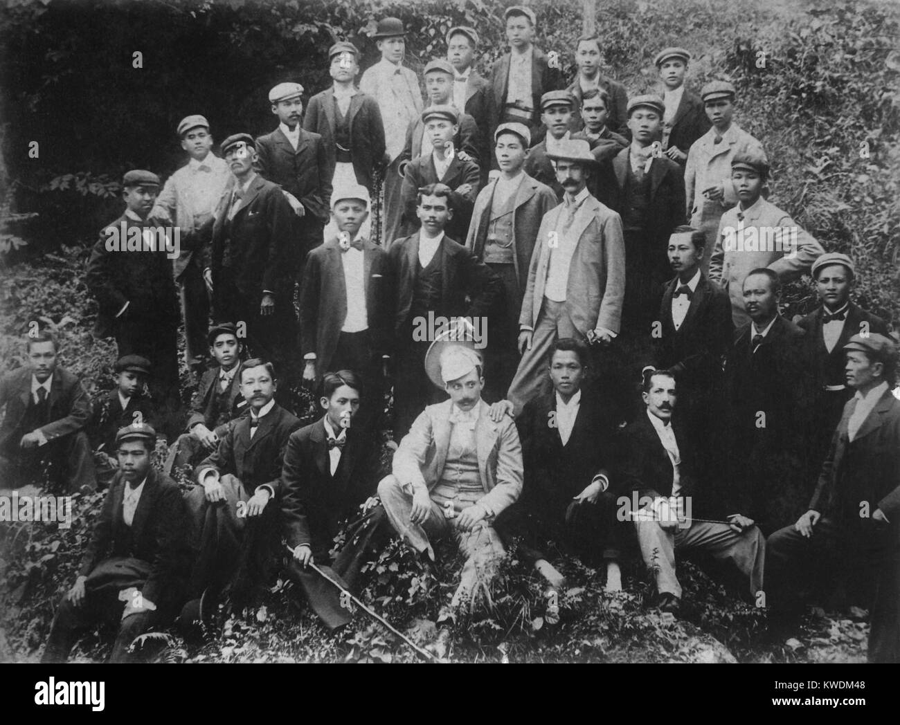 Philippine nationalists, including Emilio Aguinaldo (first row, 3rd from right), ca. 1896-97. In August 1896 an - Stock Image