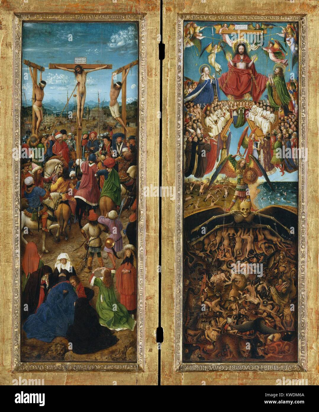 THE CRUCIFIXION, THE LAST JUDGMENT, by Jan van Eyck, 1440-41, Northern Renaissance painting. In this masterpiece Stock Photo