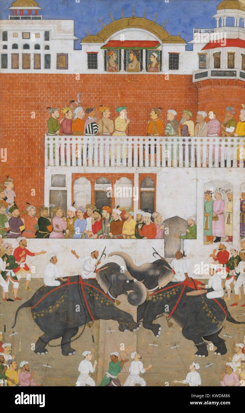 SHAH JAHAN WATCHING AN ELEPHANT FIGHT, by Bulaqi, 1639, Indian, Mughal watercolor painting. Shah Jahan, fifth Mughal - Stock Image