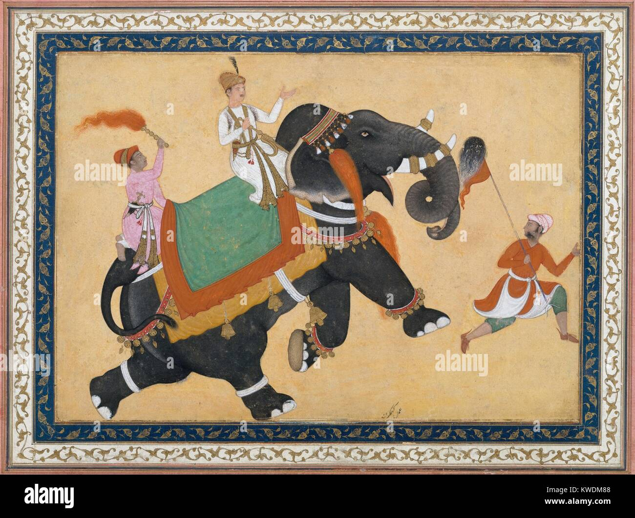 PRINCE RIDING AN ELEPHANT, by Khem Karan, 16th-17th c., Indian, Mughal watercolor painting. Elephants were prized Stock Photo
