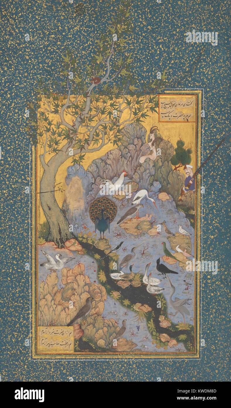 CONCOURSE OF THE BIRDS, by Habiballah of Sava, 17th c., Iranian painting, opaque watercolor on paper. Illustration - Stock Image