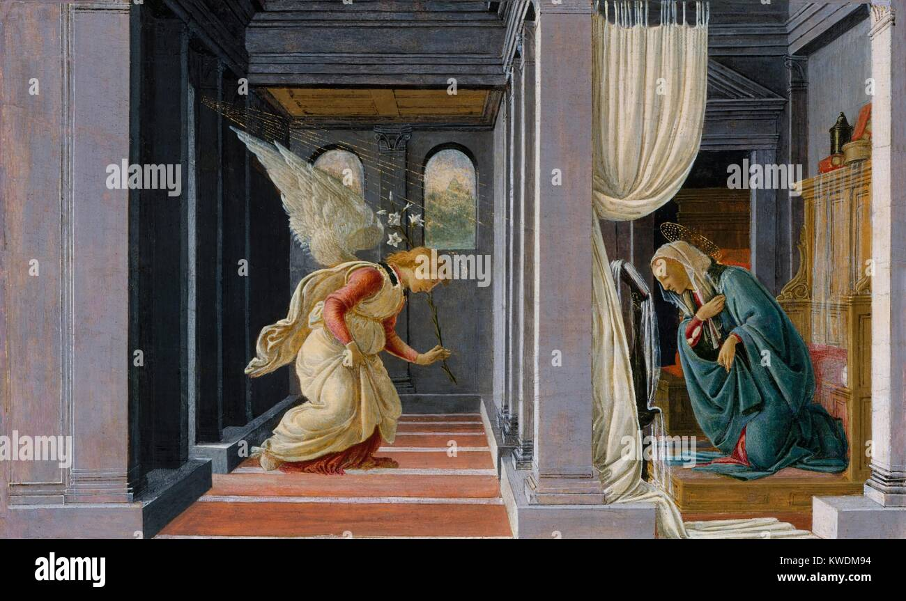 THE ANNUNCIATION, by Botticelli, 1485-92, Italian Renaissance painting, tempera, gold on wood. The Annunciation - Stock Image