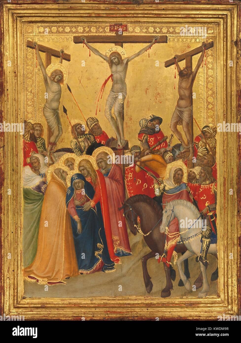 THE CRUCIFIXION, by Pietro Lorenzetti, 1340s, Italian Renaissance painting, tempera, oil on wood. Lorenzetti added - Stock Image
