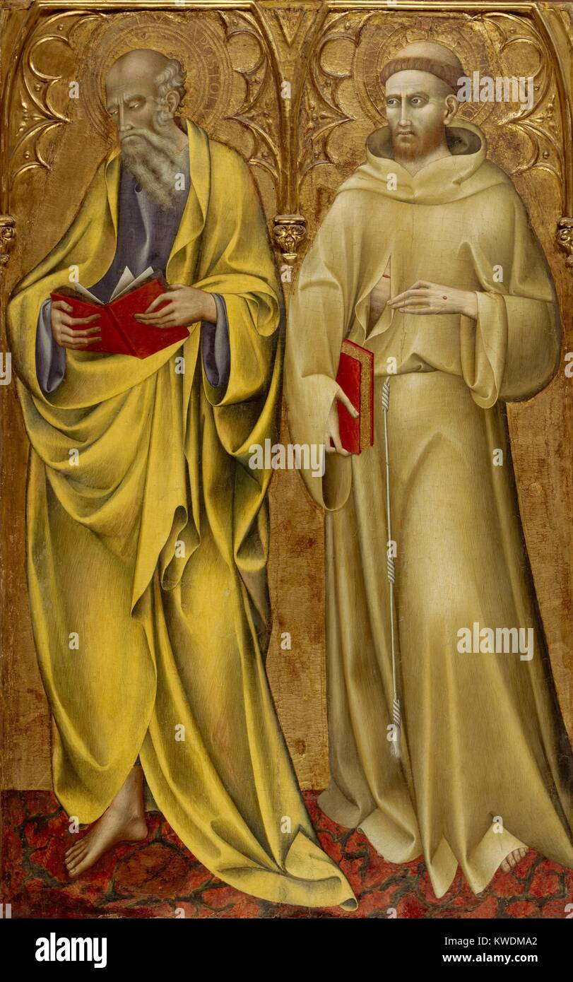 SAINTS MATTHEW AND FRANCIS, by Giovanni di Paolo, 1435, Italian Renaissance tempera painting. This is a panel from - Stock Image