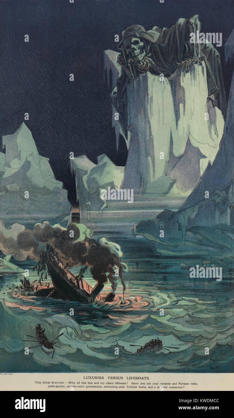 Cartoon published shortly after the sinking of the TITANIC on April 15, 1912. Amid icebergs, the Grim Reaper looks - Stock Image