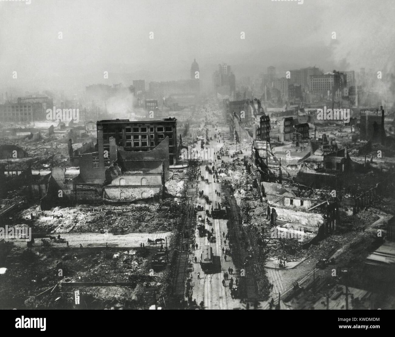 The ruins of San Francisco still smoldering after the April 18, 1906 earthquake and 3-day fire. Photo of Market Stock Photo
