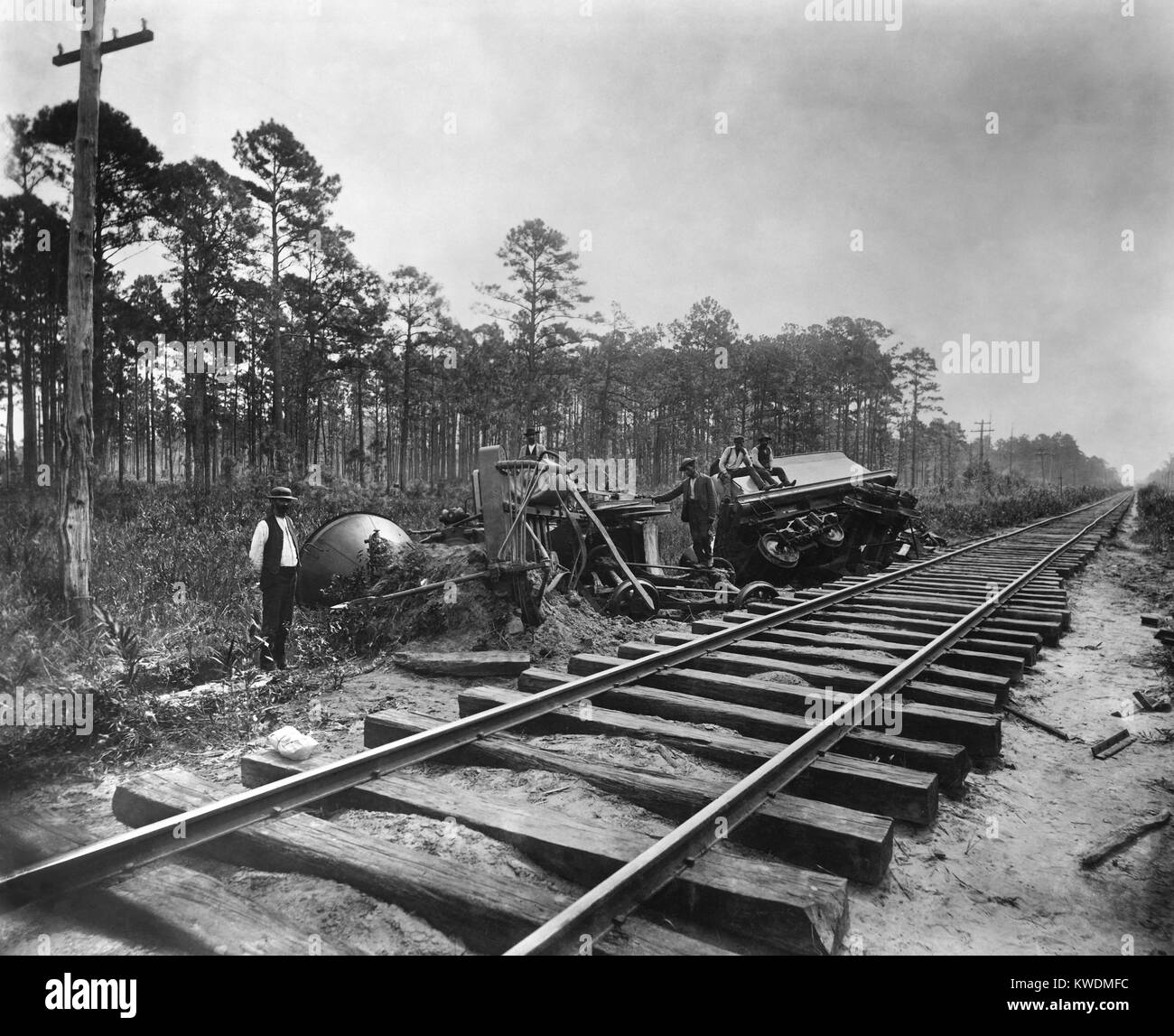 Locomotive derailed on Ten Mile Hill by the Charleston earthquake of August 31, 1886 (BSLOC_2017_17_59) - Stock Image