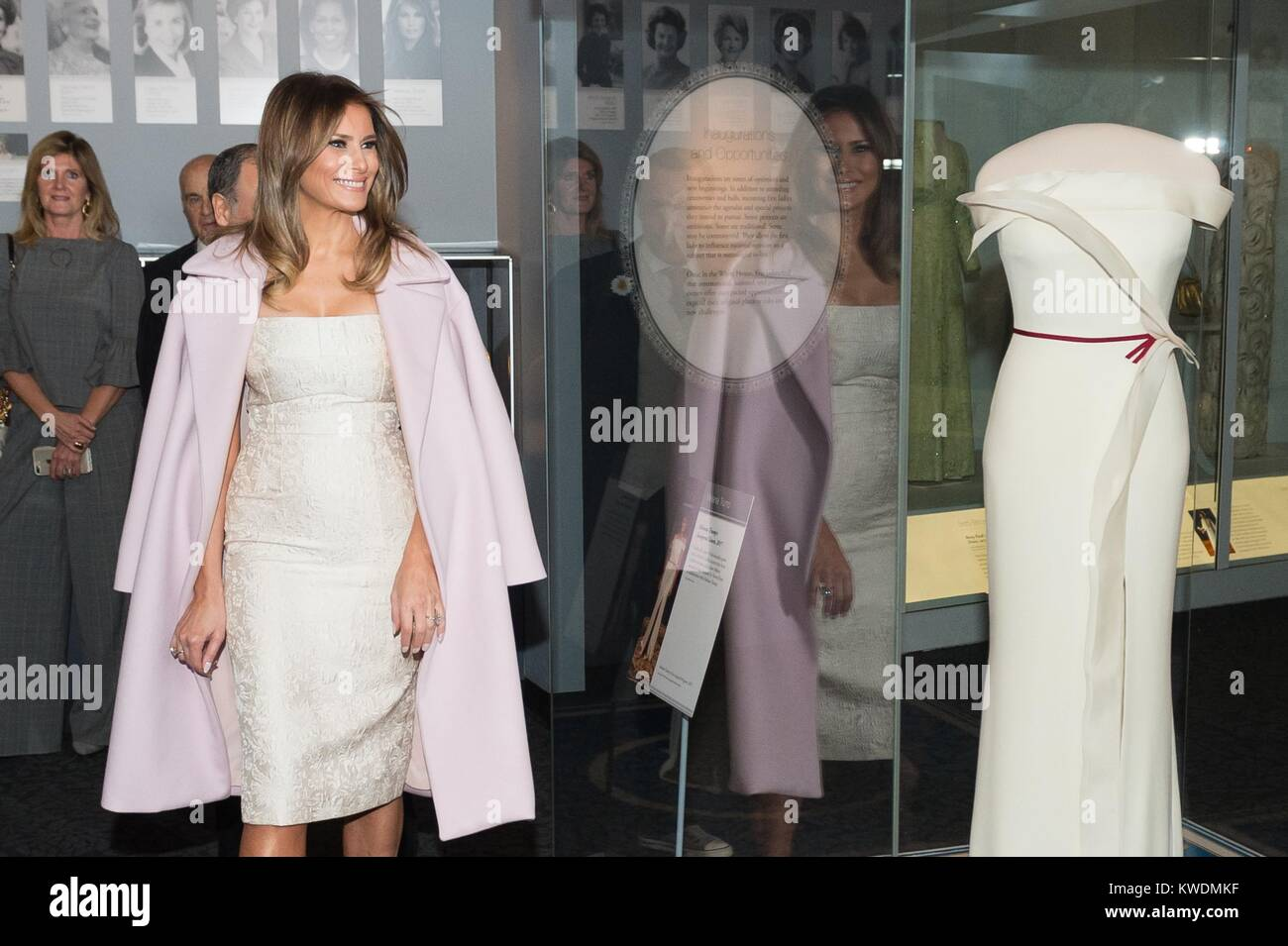 First Lady Melania Trump at the presentation of her inaugural gown to the Smithsonian Museum, Oct. 20, 2017. Herve Stock Photo