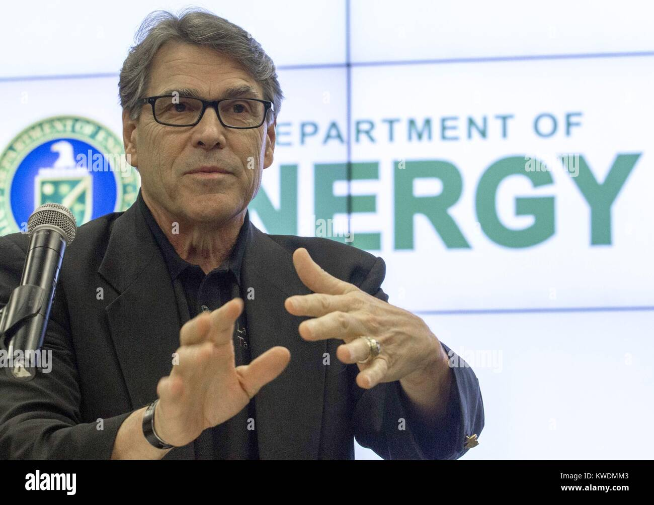 US Department of Energy Sec. Rick Perry speaking at Energy Technology Laboratory, July 7, 2017. During the 2012 Stock Photo
