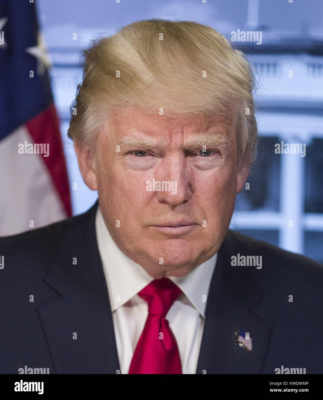 President-elect Donald Trump in a portrait released by the White House on Jan. 20, 2017. Trump is unsmiling, projecting - Stock Image