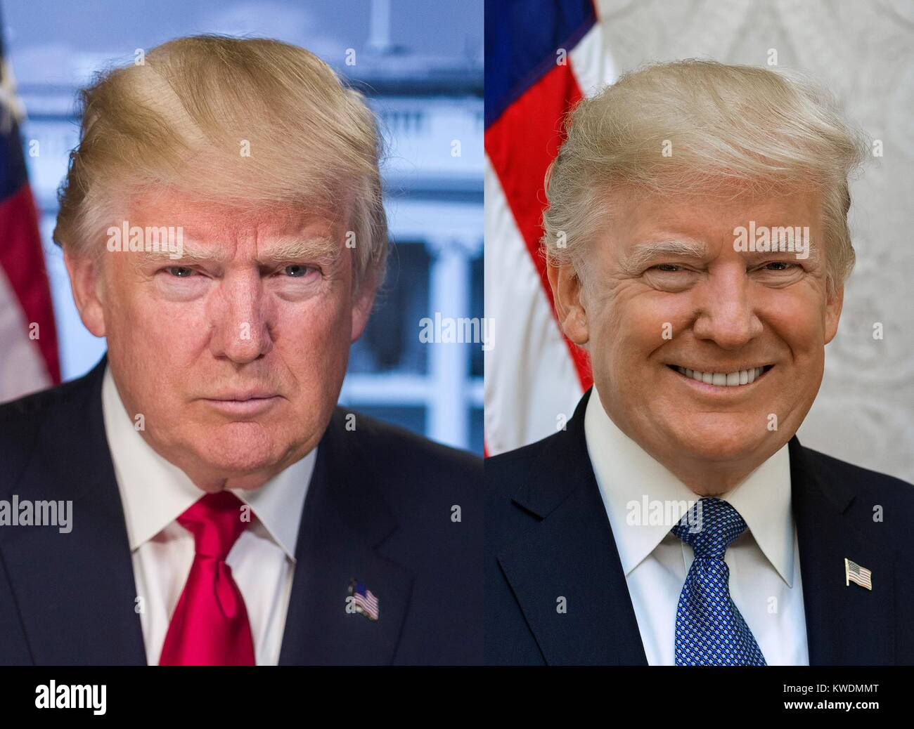 Contrasting portraits of President Donald Trump used by the White House in 2017. Image on left was taken in Dec. - Stock Image