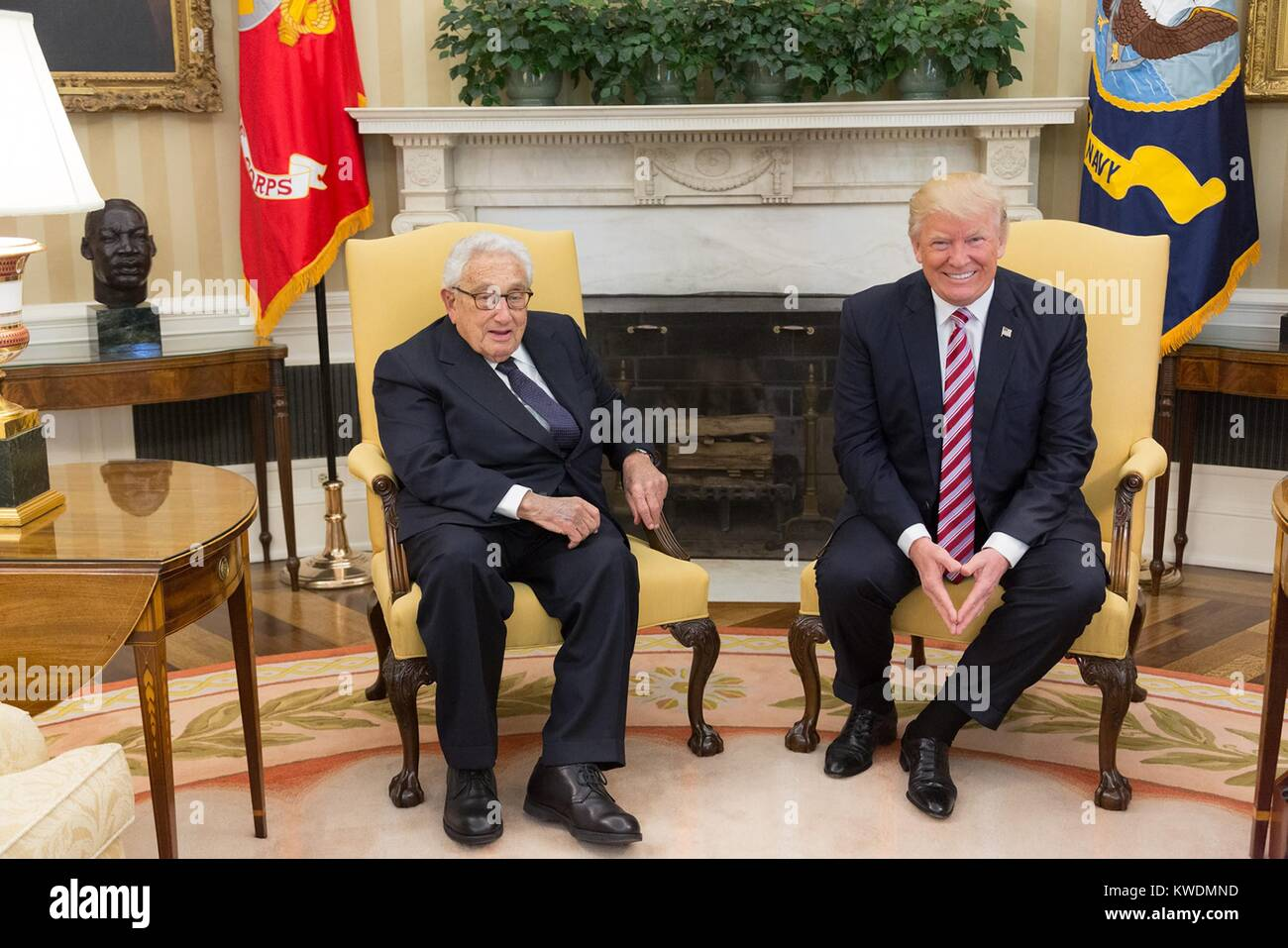 President Donald Trump meets with former Secretary of State Henry Kissinger, May 10, 2017. When Trump and Kissinger Stock Photo