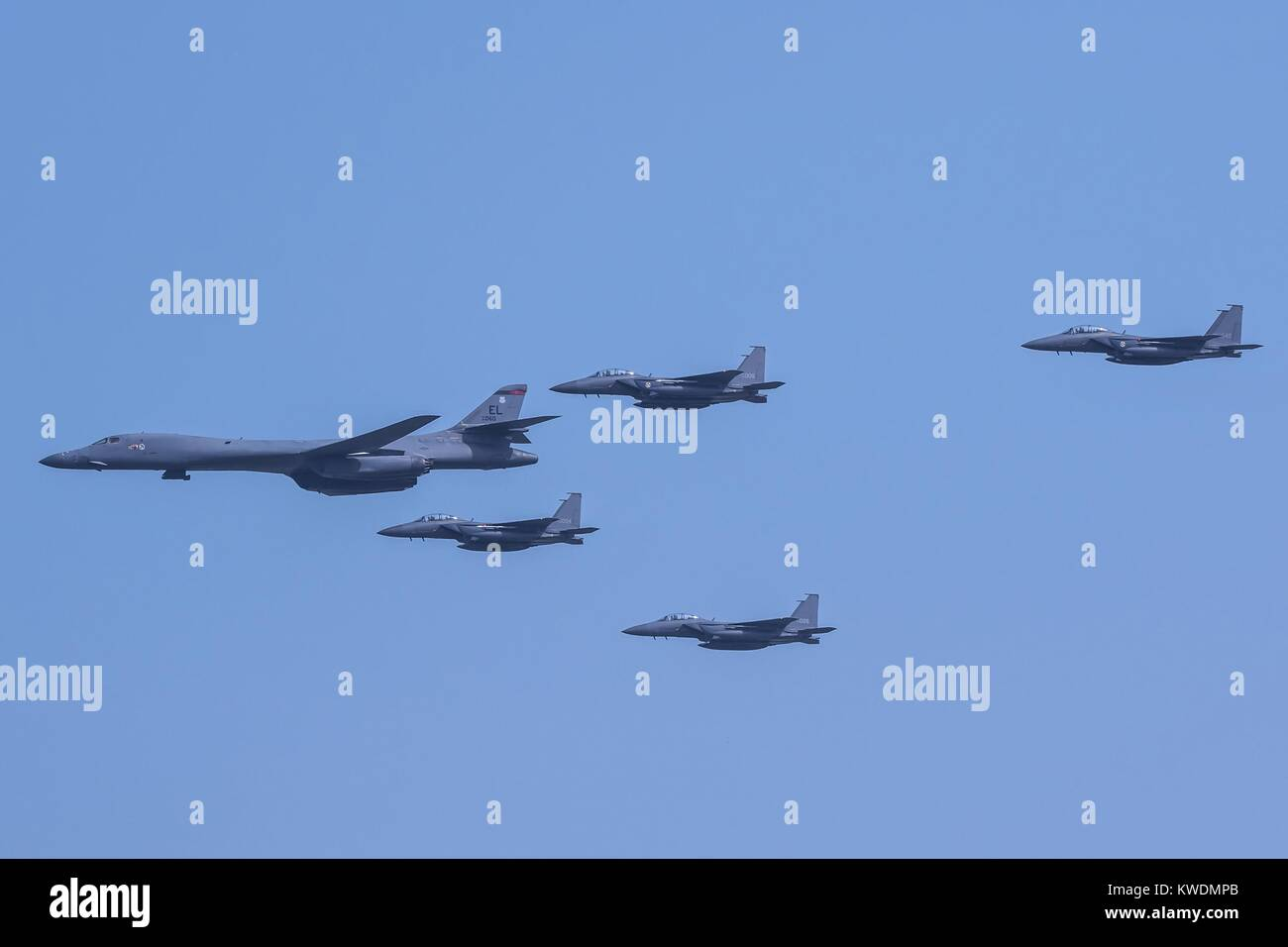 US Air Force B-1B Lancer, escorted by South Korean air force F-15K Slam Eagles, Sept. 13, 2016. The allied aircraft - Stock Image