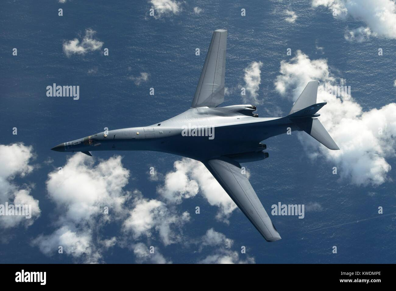 Overhead view of an US Air Force B-1B Lancer, a stealth, supersonic, heavy bomber. It is flying in a 10-hour mission Stock Photo