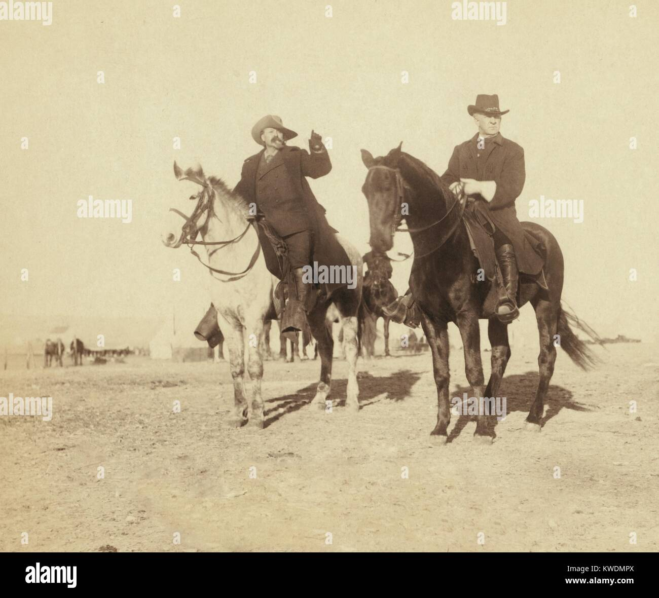 Portrait of Buffalo Bill and General Miles, viewing the Hostile Indian Camp in Jan. 1891. Following the Wounded Stock Photo