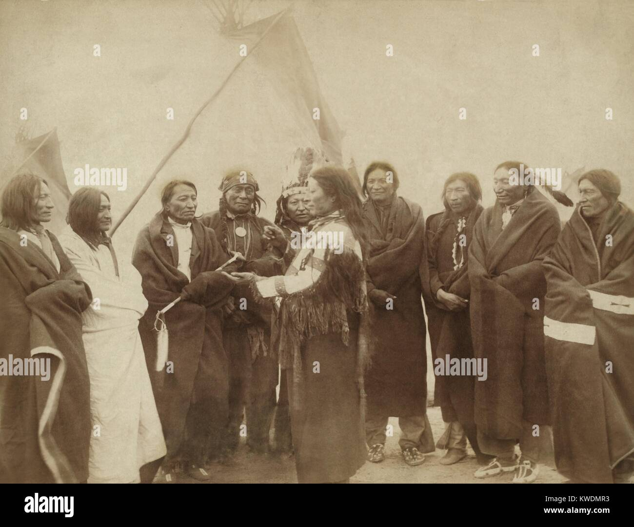 Lakota chiefs who counciled with Gen. Miles for peace after the 1890 Wounded Knee Massacre. 1. Standing Bull, 2. Stock Photo