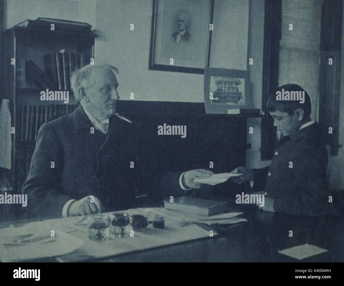 Gen. Richard Pratt with a Native American student at the Carlisle Indian School c. 1880. He sought to kill the Indian... Stock Photo