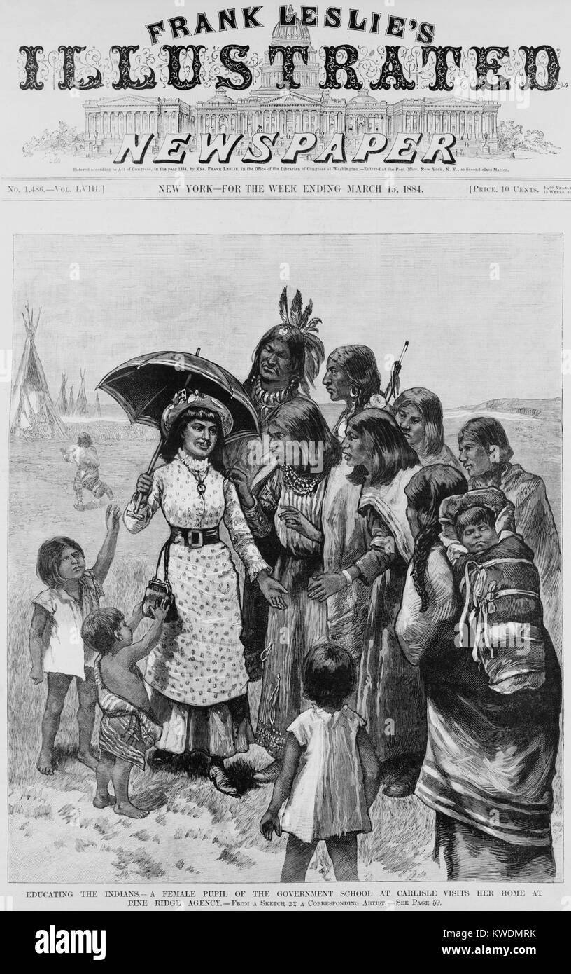 A female pupil of Carlisle Indian School visits her home at Pine Ridge Agency in 1884. She wears a modern corseted Stock Photo