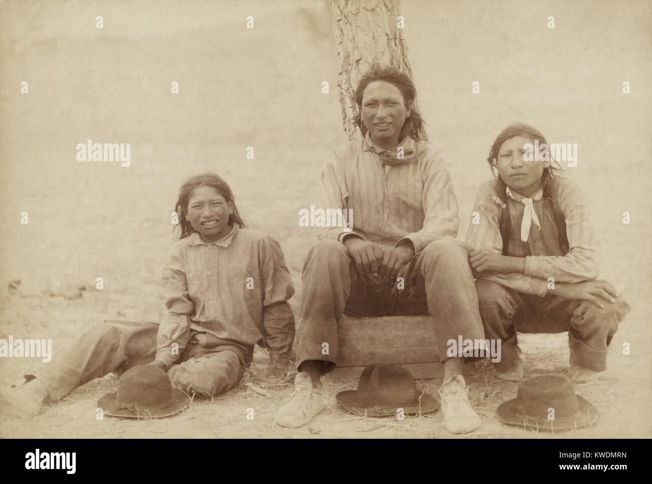 Three Lakota teenage boys in western clothing, photographed following the Wounded Knee Massacre. The derogatory - Stock Image