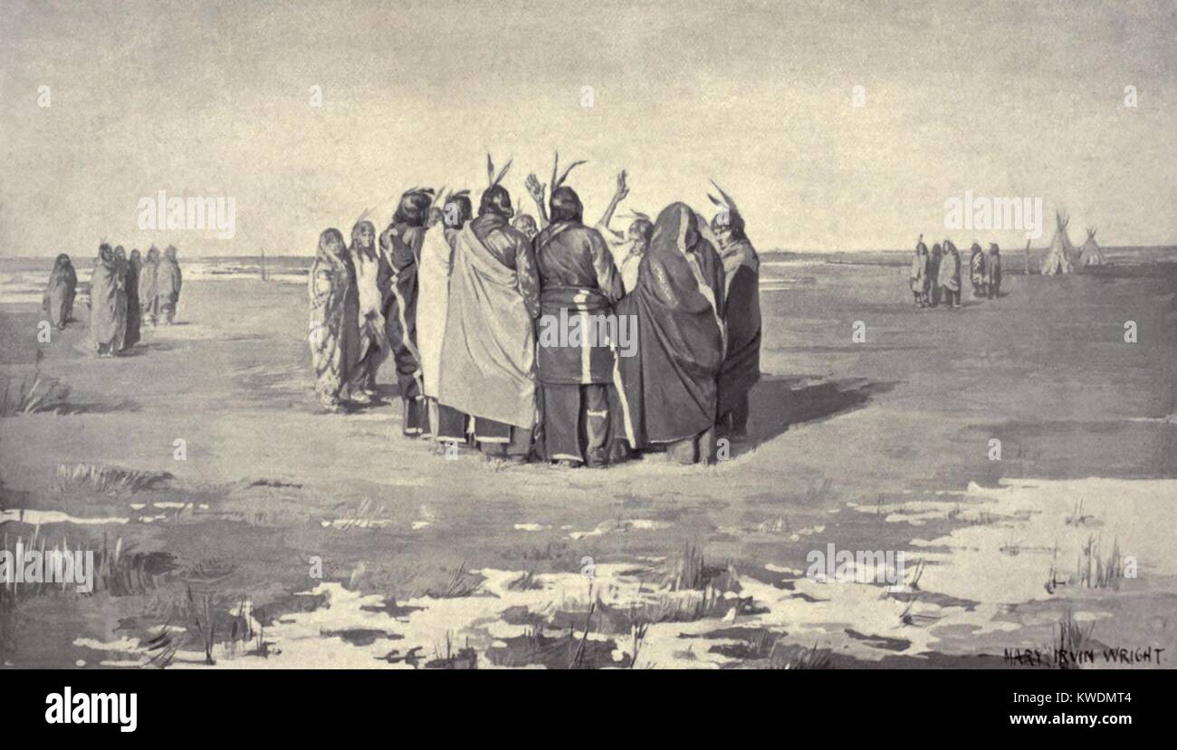 Native American Ghost Dancers in a small circle, holding hands, c. 1890. Among the tribes practicing the Ghost dance Stock Photo