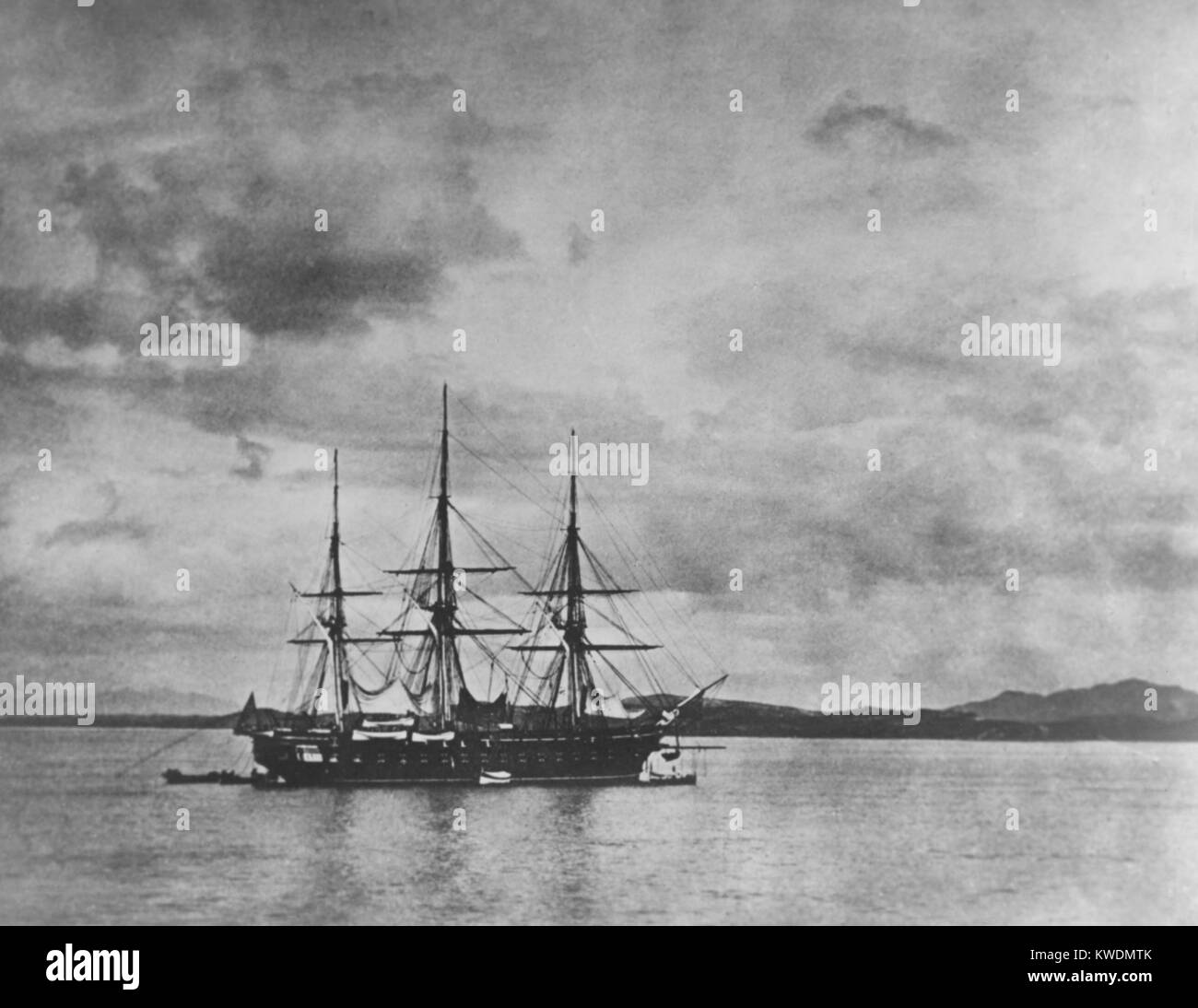 USS Frigate COLORADO in the Han River, Korea, during the Korean expedition of May-June, 1871. It was the flagship Stock Photo