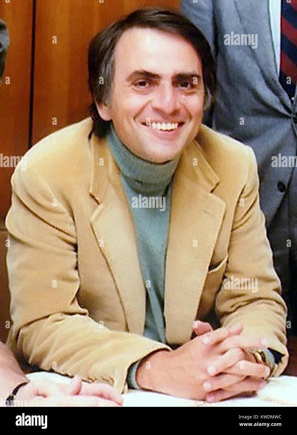 Carl Sagan, Carl Edward Sagan, American astronomer, cosmologist, astrophysicist, astrobiologist, author, science - Stock Image