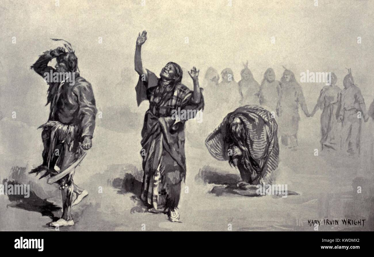 Native American Ghost Dancers left the dance circle during inspirations, prayer, and visions, 1890. Reproduction Stock Photo