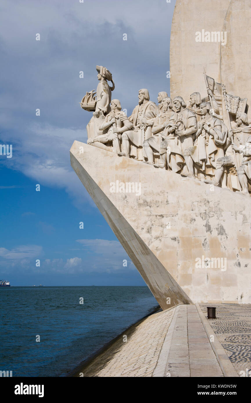 Monument to the Discoveries. It was conceived in 1939 by Portuguese architect José Ângelo Cottinelli Telmo, - Stock Image